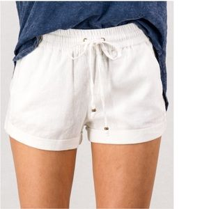 🔖Last! White Linen Stretch Waistband Shorts!